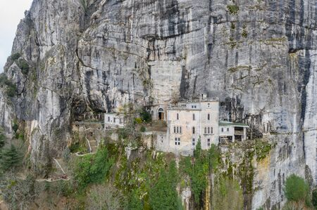 Aerial view of the Grotto of Maria Magdalena in France, Plan DAups, the massif St.Baum, holy fragrance, famous place among religious believers, the Monastery of Dominican Friars