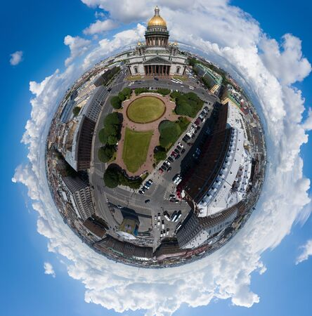 Aerial spherical image of Isaac square and cathedral at day time, panoramic image of city, cityscape, golden dome, sunny day. High quality photo