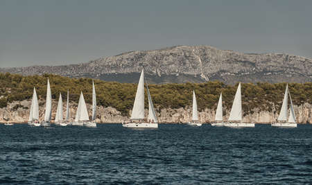 Beautiful sea landscape with sailboats, the race of sailboats on the horizon, a regatta, a Intense competition, bright colors, island with windmills are on background