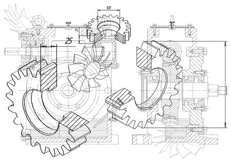 Rysunki koła zębatego na białym tle Ilustracje wektorowe