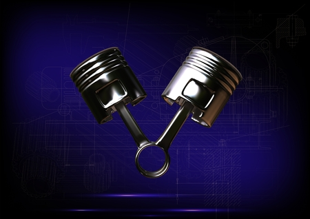 fuel rod: Two pistons on a blue background. 3d render