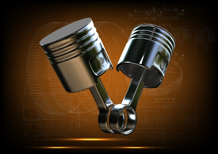Two pistons on a yellow background. 3d render