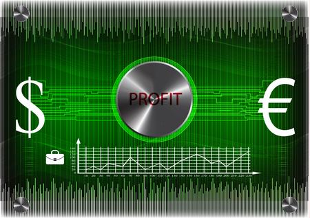 Business information on a green background. 2d illustration