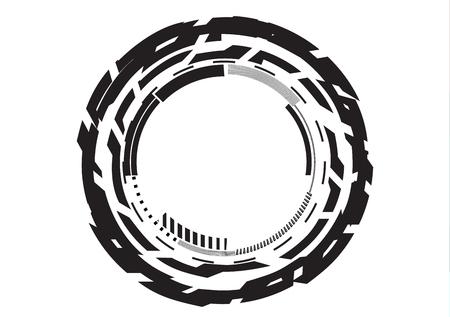 glaze: Round black logo on white background, line Illustration