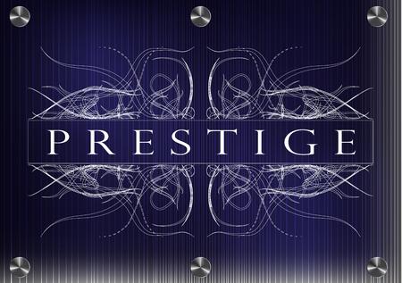 prestige: White patterns on a blue background. The inscription prestige