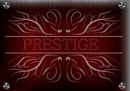 White patterns on a red background, the inscription prestige Illustration