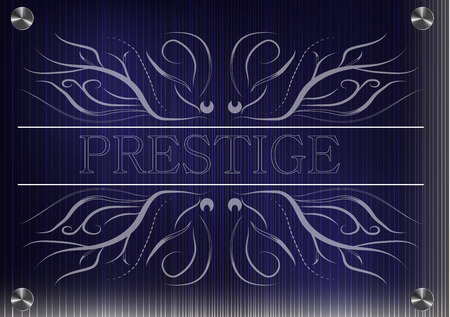 prestige: White patterns on a blue background, the inscription prestige Illustration