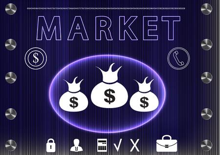 information analysis: word marketon a dark background. 2d illustration