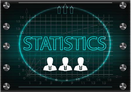 information analysis: word statistics on a dark background. 2d illustration