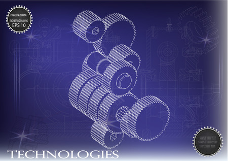 steel industry: Drawings of cogwheels on a blue  background