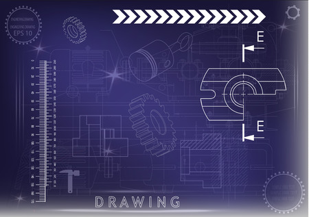 white drawing on a blue background, engineering Illustration