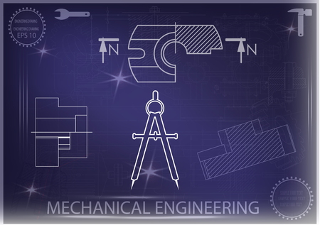 construction project: white drawing on a blue background, engineering Illustration