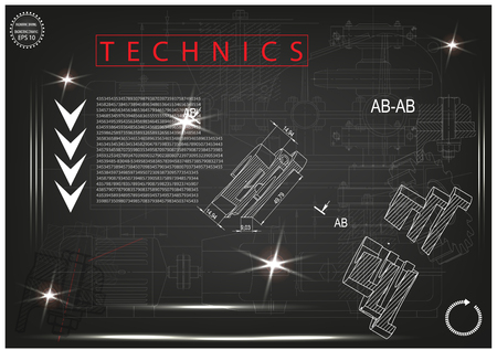 construction project: white drawing on a black background, engineering Illustration