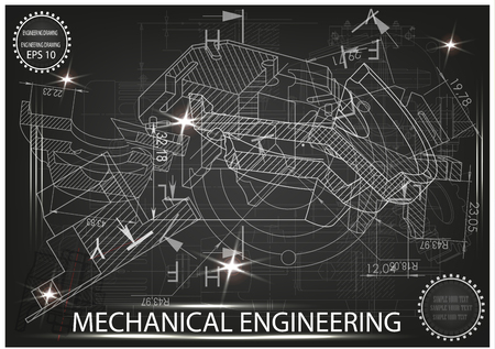 white drawing on a black background, engineering Illustration