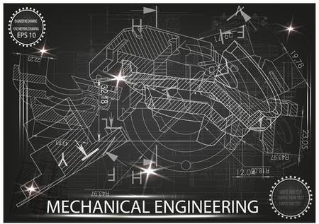 white drawing on a black background, engineering Çizim