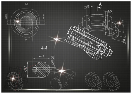 white drawing on a black background, engineering Vectores