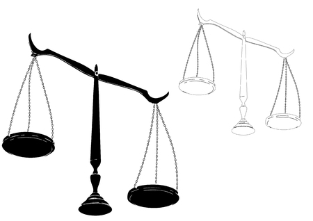 Black justice scales on a white background.