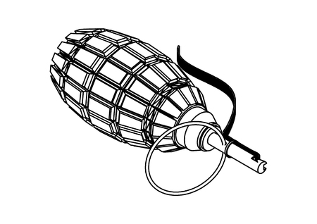 Black grenade on a white background, vector image.