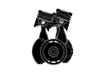 Black internal combustion engine on a white background.