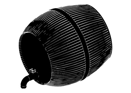 Black barrel on white background, vector image.