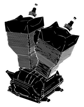 Black motorcycle engine on a white background. Illustration