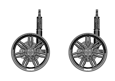 black wheel with shock absorbed on white background