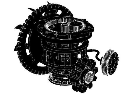 gear mechanism on white background, vector image Illustration
