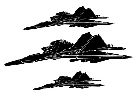 Black fighter on white background, vector image Vettoriali