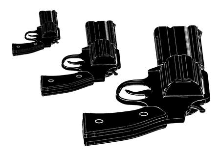 black revolver on white background, vector image