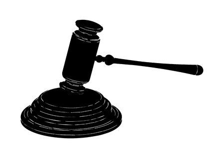 black judge hammer on a white background Illustration