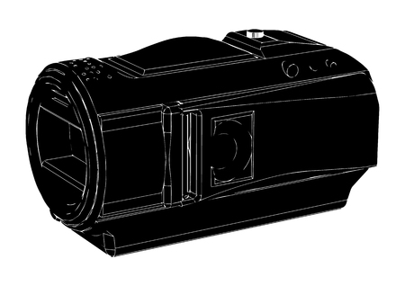 black amateur camcorder on white background Vectores