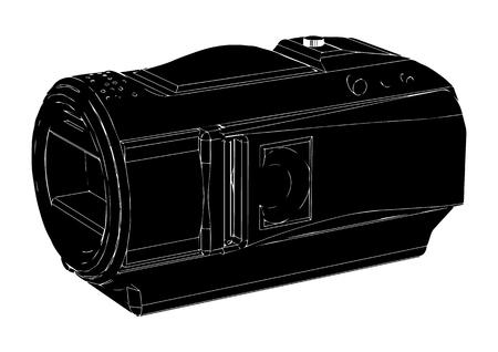 black amateur camcorder on white background Illustration