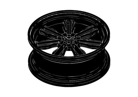 Black disk wheel on white background, vector illustration.