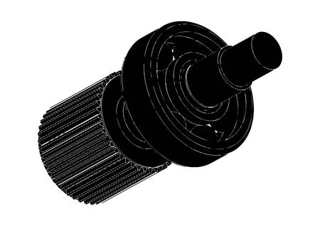 Cogwheel and bearing on a white background. Illustration