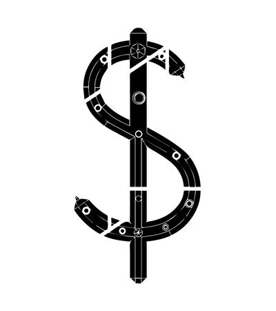 black 3d model of dollar on white background