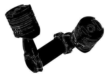 two black pistons on a white background