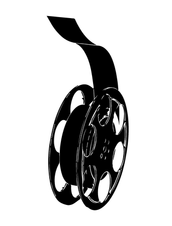 Black film on white background, vector image Illustration