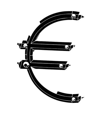 black 3d model euro on white background