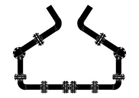 Black pipeline on white background, vector image.