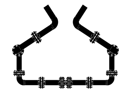 Black pipeline on white background, vector image.