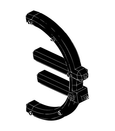 euro nero del modello 3d su priorità bassa bianca