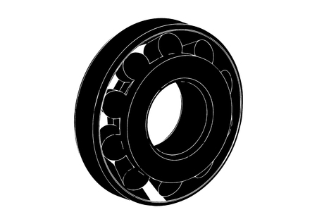 black bearing on a white background, vector