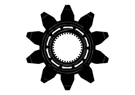 Black cogwheel on a white background.