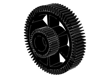 Black cogwheel on a white background, vector.