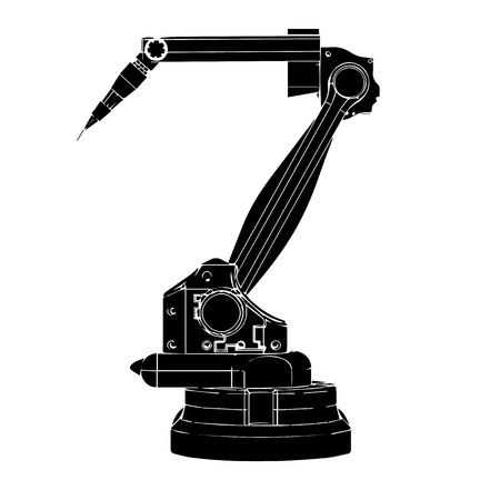 Black welding robot on a white background.