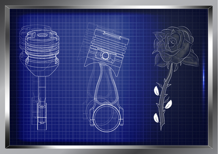 two pistons and a rose on a blue background Illustration
