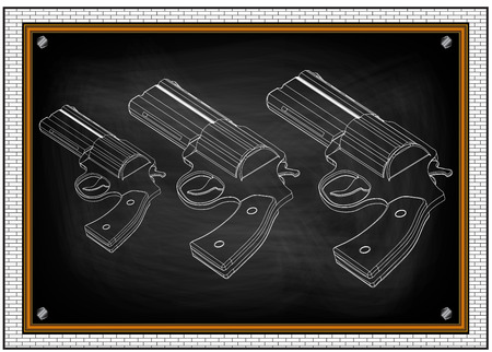 drawing of a revolver on a blackboard Illustration