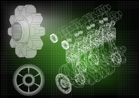 Machine building drawing. The car engine and gears on a dark green background. 3d