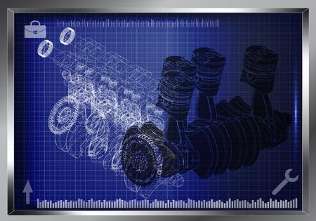 Machine building drawing. The car engine on a blue background. 3d Ilustração