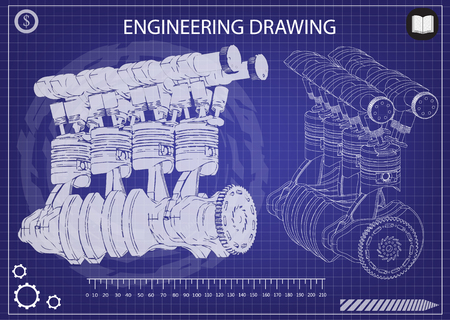 Machine building drawing. The car engine on a blue background. 3d Vectores